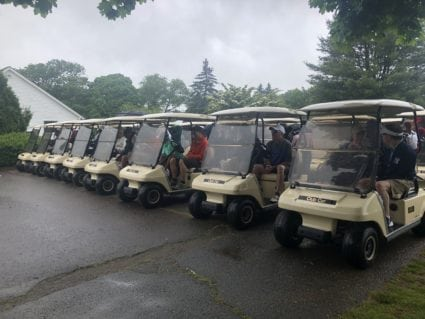 "Golf Carts Ready to go at the Golf ""Fore"" Alzheimer's Event Sponsored by Care At Home"